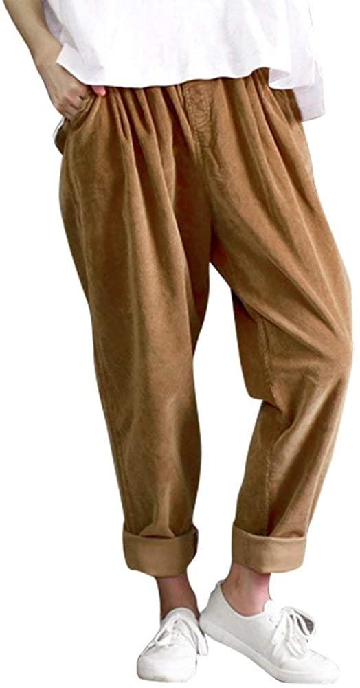 IDEALSANXUN Women's Retro Thick Corduroy Elastic Waist Loose Fit Casual Harem Pants Trousers