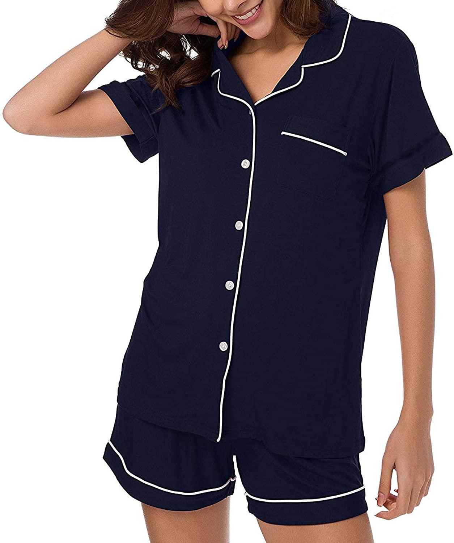 Polofy Women's Pajamas Set Short Sleeve Button Down Shirt and Pajama Shorts Sleepwear Comfy Pjs Sets