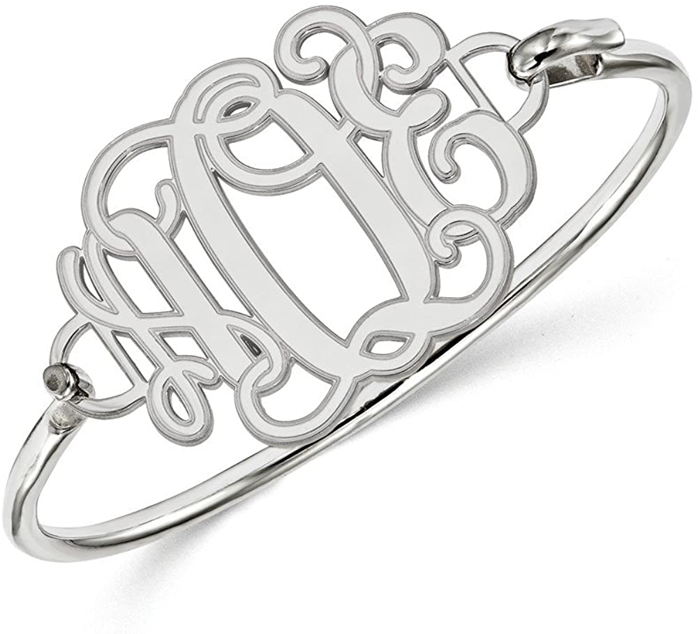 Solid 925 Sterling Silver Etched Outline Monogram Plate SS Bangle Cuff Bracelet (Width = 46mm)
