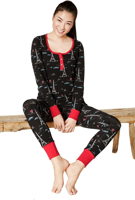BedHead Pajamas Sketched Eiffel Stretch L/S Henley PJ Set 1097-SL7-7034
