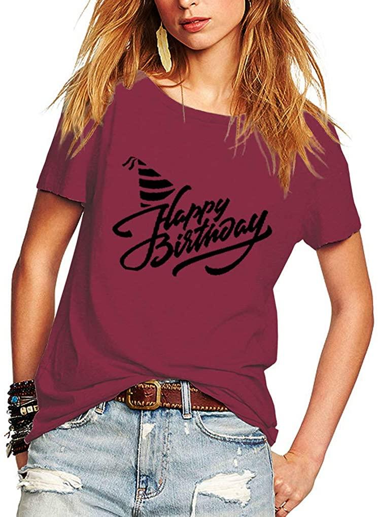 Romastory Women's Happy Birthday Letters Print t Shirt Short Sleeve Gift Tops Tee Shirts