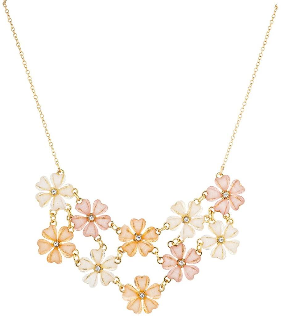 Lux Accessories Shimmer Flower Collar Floral Bib Statement Necklace
