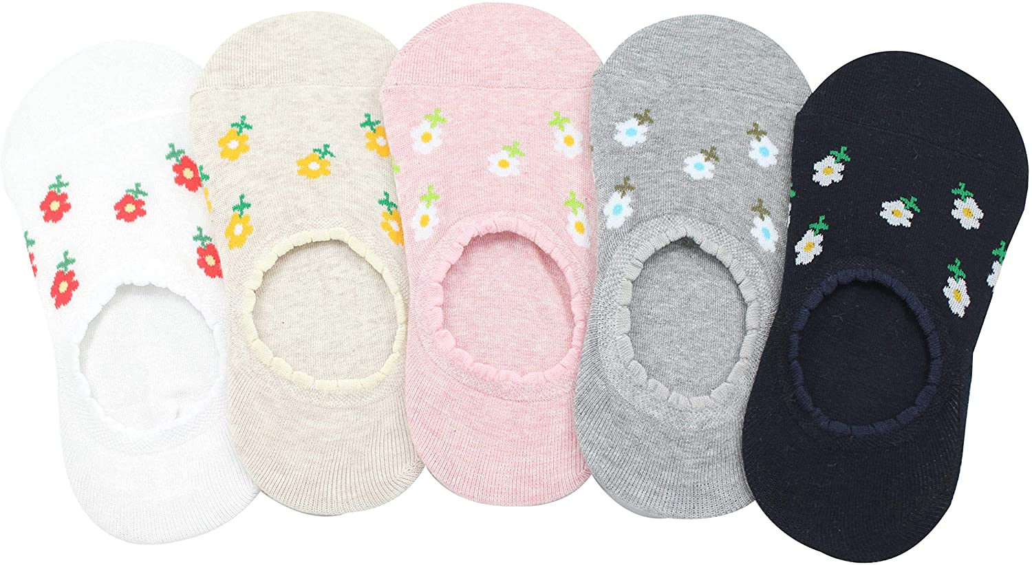 [Flowers Point no show socks] No Show Cotton 5 Pairs Socks - Non Slip Liner Low Cut For Women 5~8
