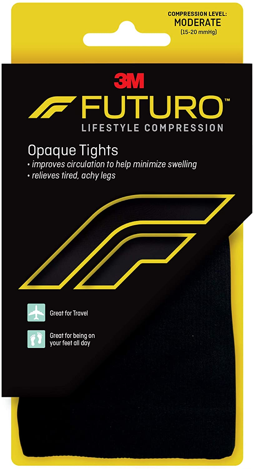 Futuro Opaque Tights for Women, Moderate Compression, 15-20 mm/Hg, Helps Improve Circulation to Help Minmize Swelling