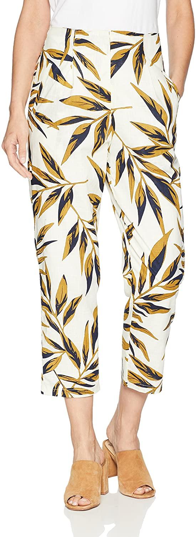 J.O.A. Women's High Waisted Skinny Cropped Printed Pants