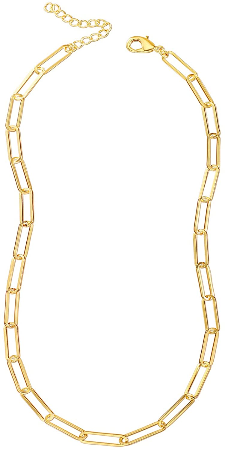 Reoxvo 22K Real Yellow Gold Plated Link Chain Necklace Bracelets for Women Oval Rectangle Chain Link Choker Ideal Gift