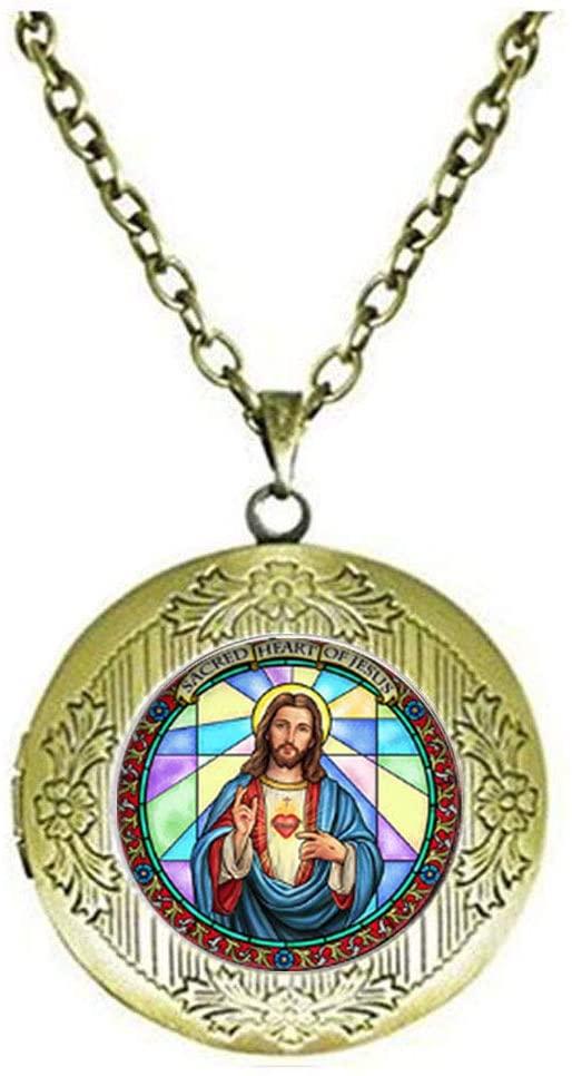 Christian Religion Locket Necklace Jesus Glass Photo Charm Jewelry Birthday Festival Gift Beautiful Gift