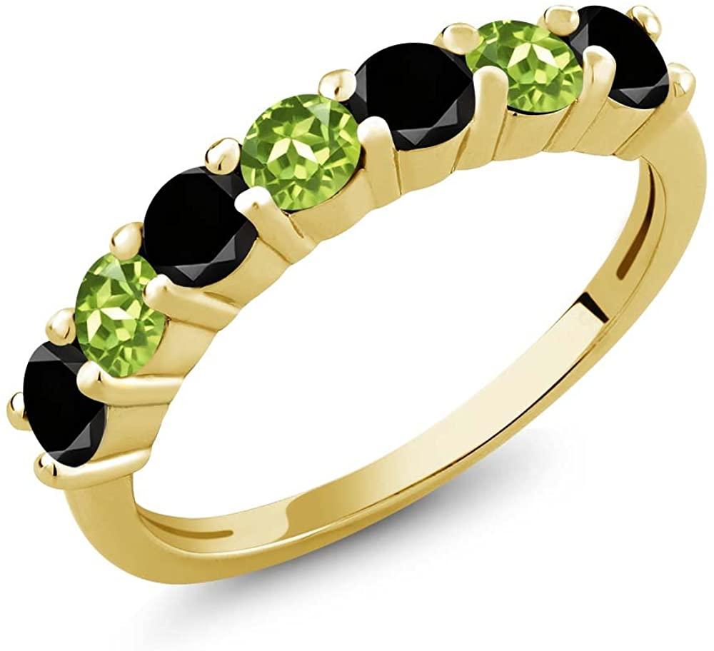 Gem Stone King 1.22 Ct Round Black Diamond Green Peridot 18K Yellow Gold Plated Silver Anniversary Ring