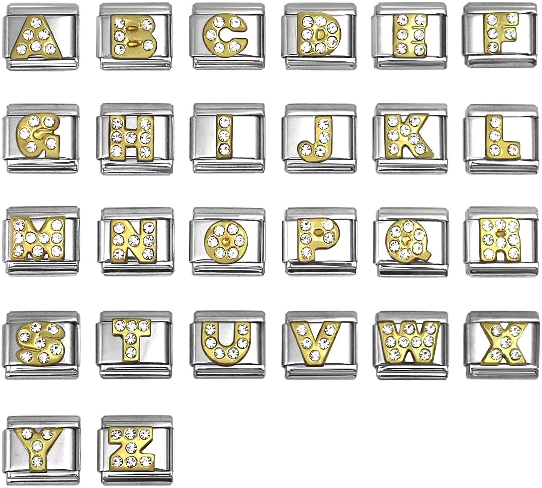 SilverAndJewelry Rhinestone Alphabet Letter Italian Charms 9 mm Stainless Steel Bracelet Link - Choose Letters