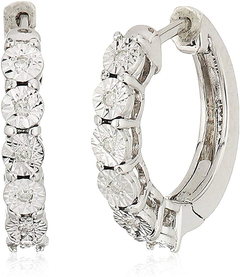 Rhodium-Plated .925 Sterling Silver 1/20 Cttw 4-prong setting Diamond-Accent Diamond Cut Huggie Petite 5/8