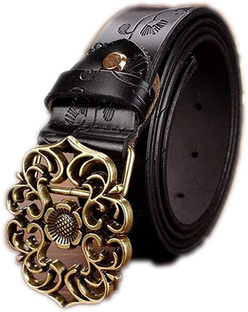 Genuine Leather Belts Second Layer Cowskin Woman Belt Vintage Floral Pin Buckle Strap For Jeans