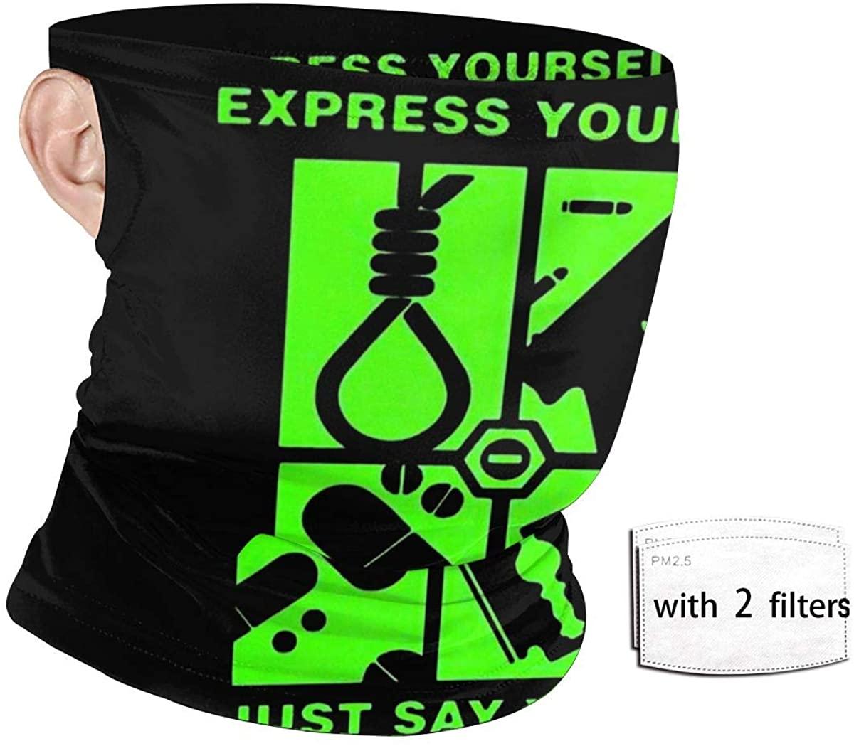 Halasa Unisex Ear-Type Face Bandana Type O Negative Express Yourself Face Mask Reusable With Filter