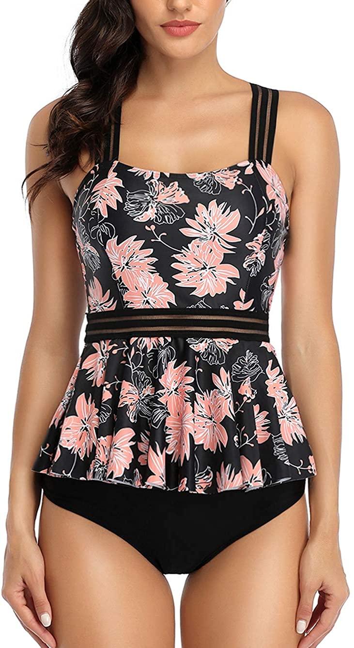 Kaei&Shi Criss Cross Ruffle High Waisted Tankini, Sunflower Peplum Tankini Swimsuits for Women Tummy Control