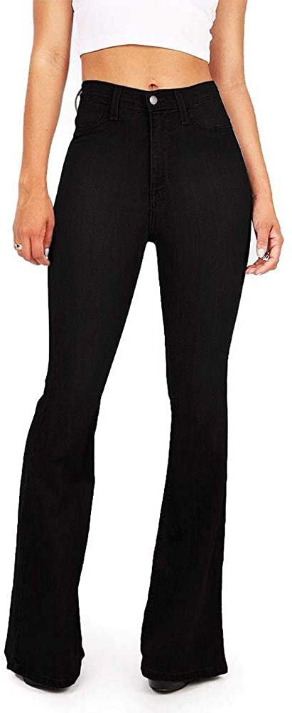 Women's Classic 70's High Waisted Jeans Bell Bottom Stretchy Plus Size Skinny Jeans