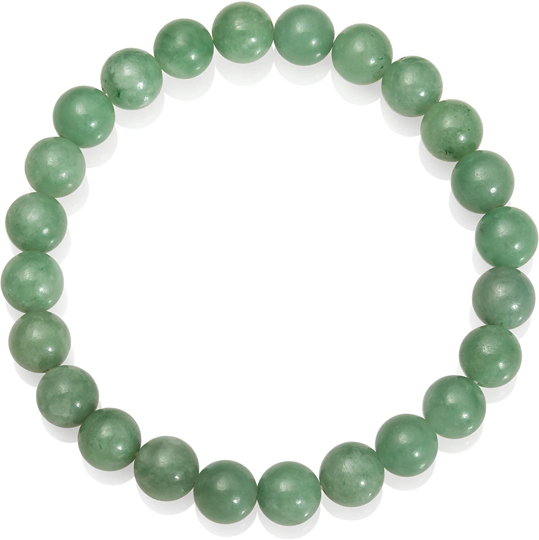8mm Natural Jade Green Gemstone Bead Stretch Bracelet