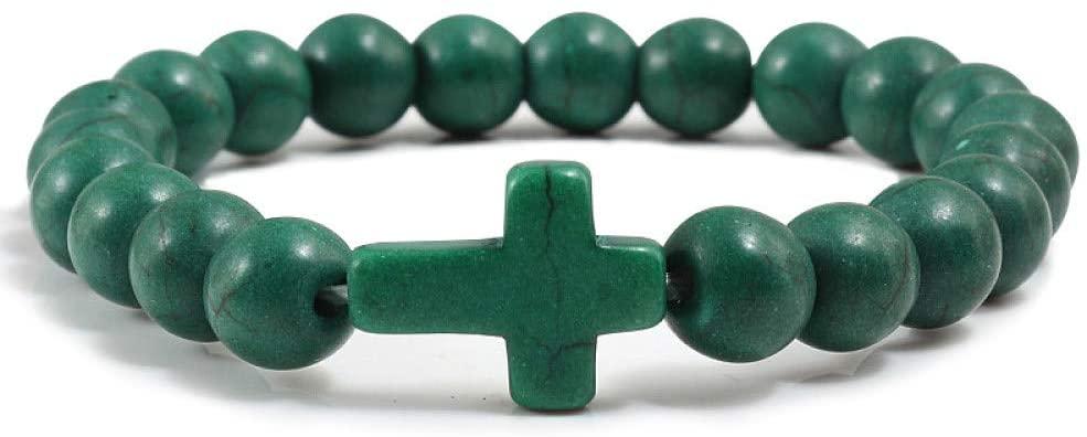 DCPPCPD Dark Green Jesus Cross Charm Men Bracelet Stone 8Mm White Beads Bracelets Bangles for Women Yoga Jewelry Healing Bracelet Meditation