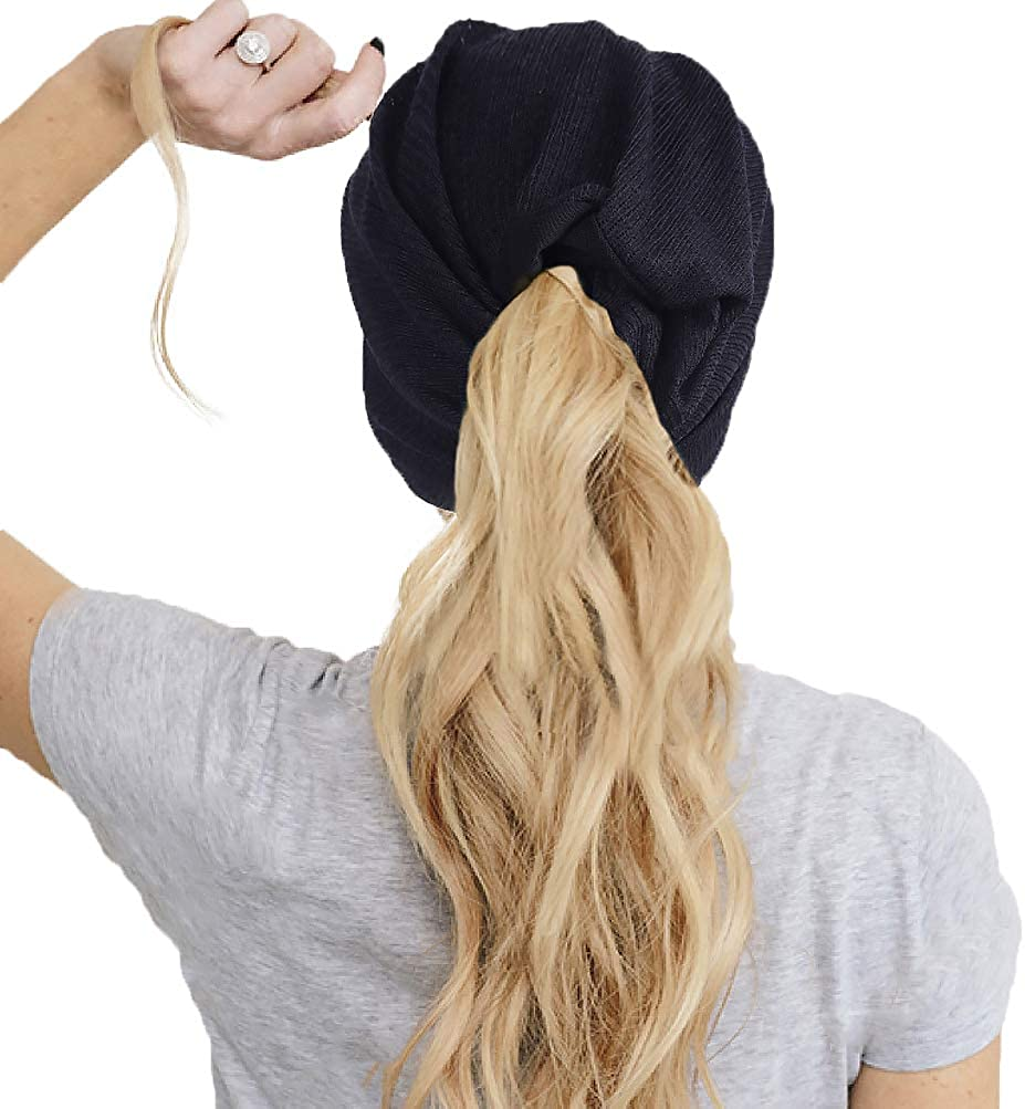 FORBUSITE 2 Pack Women Slouchy Ponytail Beanie Hat for Summer Thin Multifunction