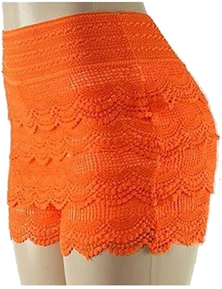 TD Women's Women's Crochet Tiered Lace Layers Under Safety Short Pant (Small/Medium, Neon Orang)