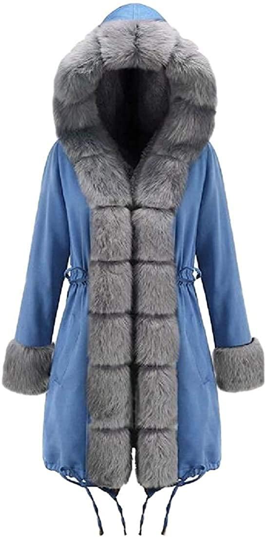 Xudcufyhu Womens Casual Faux Fur Collar Warm Thicken Hooded Long Sleeve Coat Loose Parka Jacket