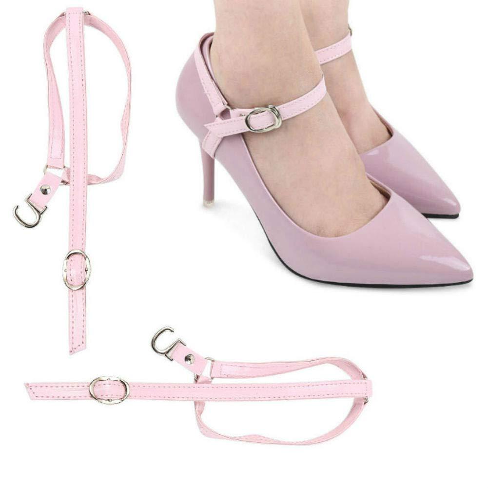 AKOAK 1 Pair Pink High Heels Anti-loose Shoelaces Women's Foot Care Ankle Shoe Tie Straps Detachable PU Leather Shoe Straps