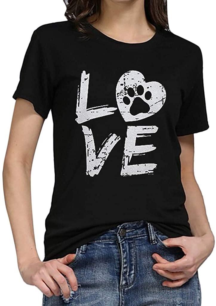 ZEFOTIM Fashion Women's Loose Short-Sleeved Love Letter T-Shirt Casual O-Neck Top