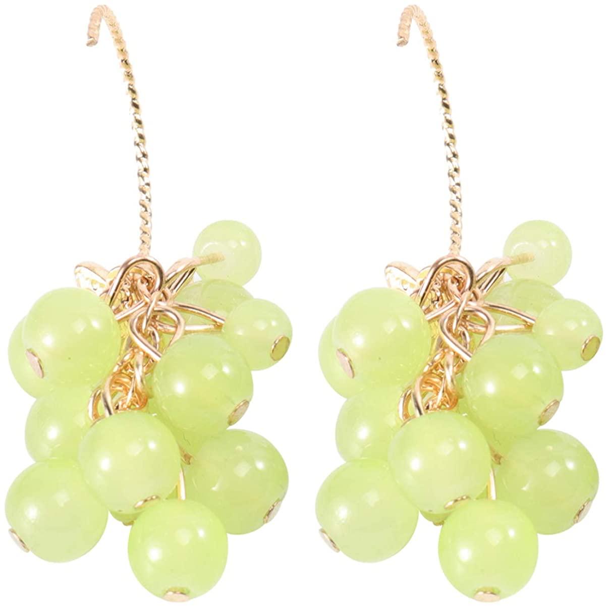 Holibanna Hoop Earrings Ear Drops Green Grapes Fruit Ear Hooks Creative Earbob Ear Pendant Jewelry for Party Women Girls