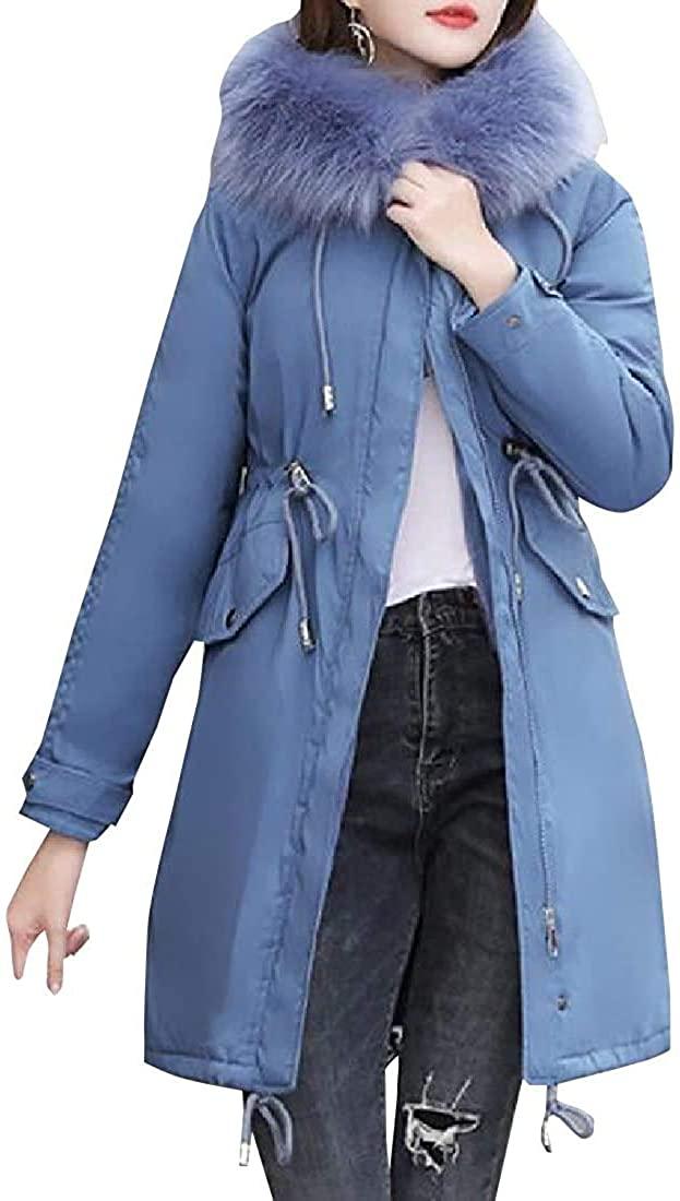 Xudcufyhu Women's Faux Fur Hooded Down Coat Drawstring Warm Thick Long Jacket Overcoat