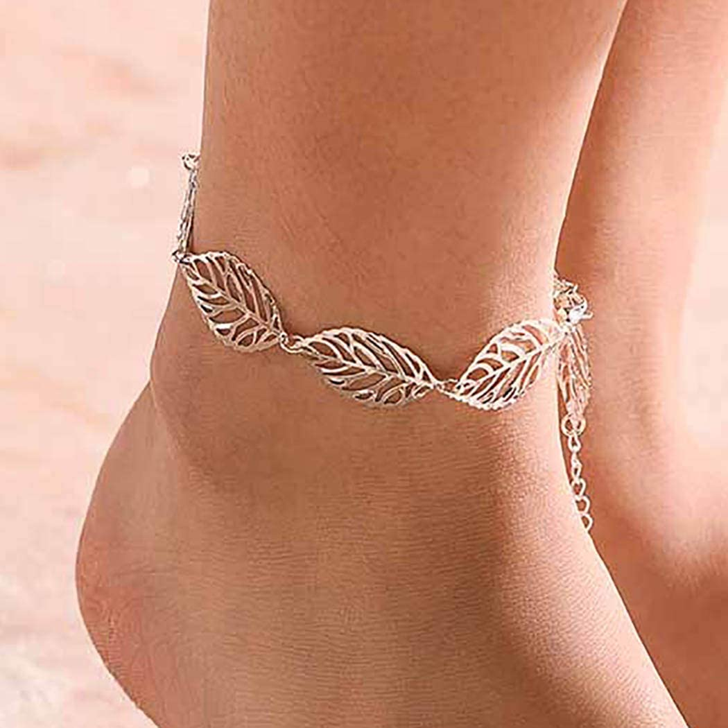 Aetorgc Classy Anklets Leafs Anklet Bracelets Foot Chain Jewelry for Women and Girls