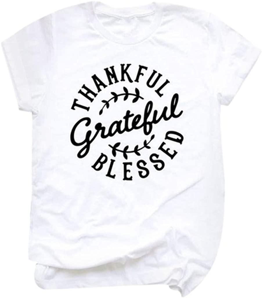 Thanksgiving Theme Women's Tops Alphabet Printed T-Shirt O-Neck Pullover Short Sleeve Sweatshirt