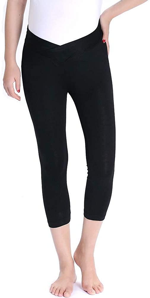 Vocni Women's Comfortable Modal Capri Maternity Leggings Under The Belly Capri Pants (US XL, Black_1)