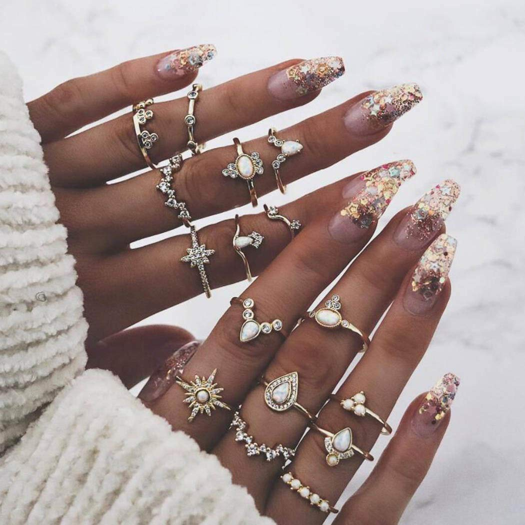 Twinklede Boho Finger Rings Gold Crystal Joint Knuckle Ring Set Opal Stackable Rings for Women and Girls (Pack of 16)