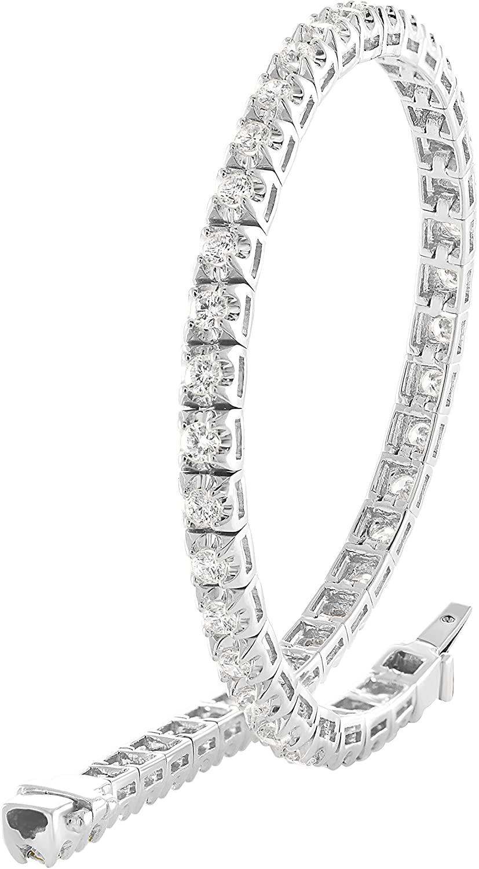 925 Sterling Silver Round Cut White Cubic Zirconia Classics Tennis Bracelet (2 Cttw)