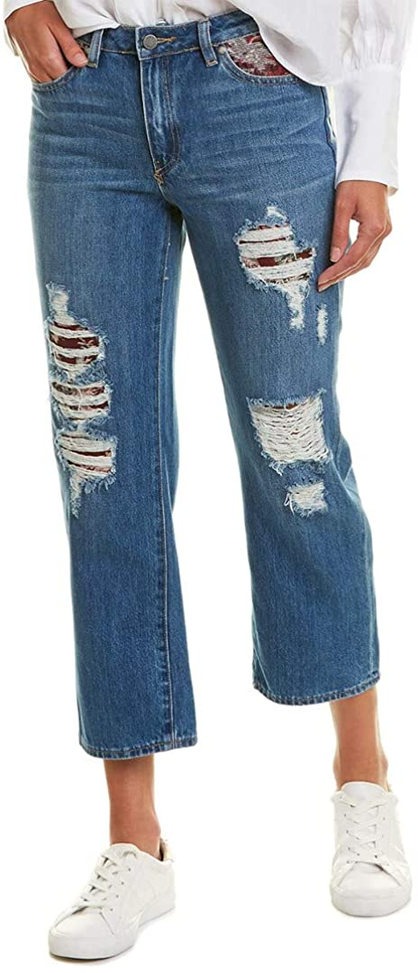 Vince Camuto Womens Tapestry Patchwork Straight Leg, 27, Blue