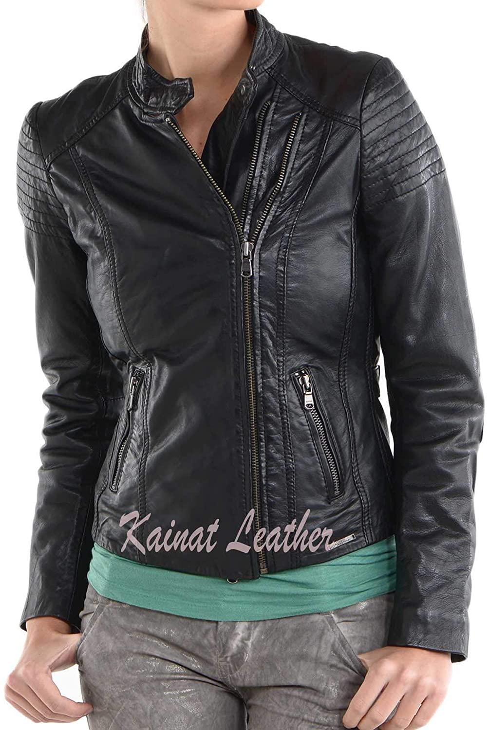 KAINAT Lambskin Leather Craft Women's Biker Jacket 119