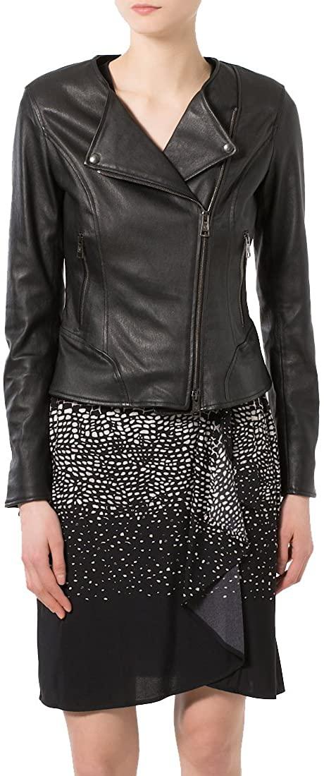 New Women Motorcycle Lambskin Leather Jacket Coat Size XS S M L XL NLT004