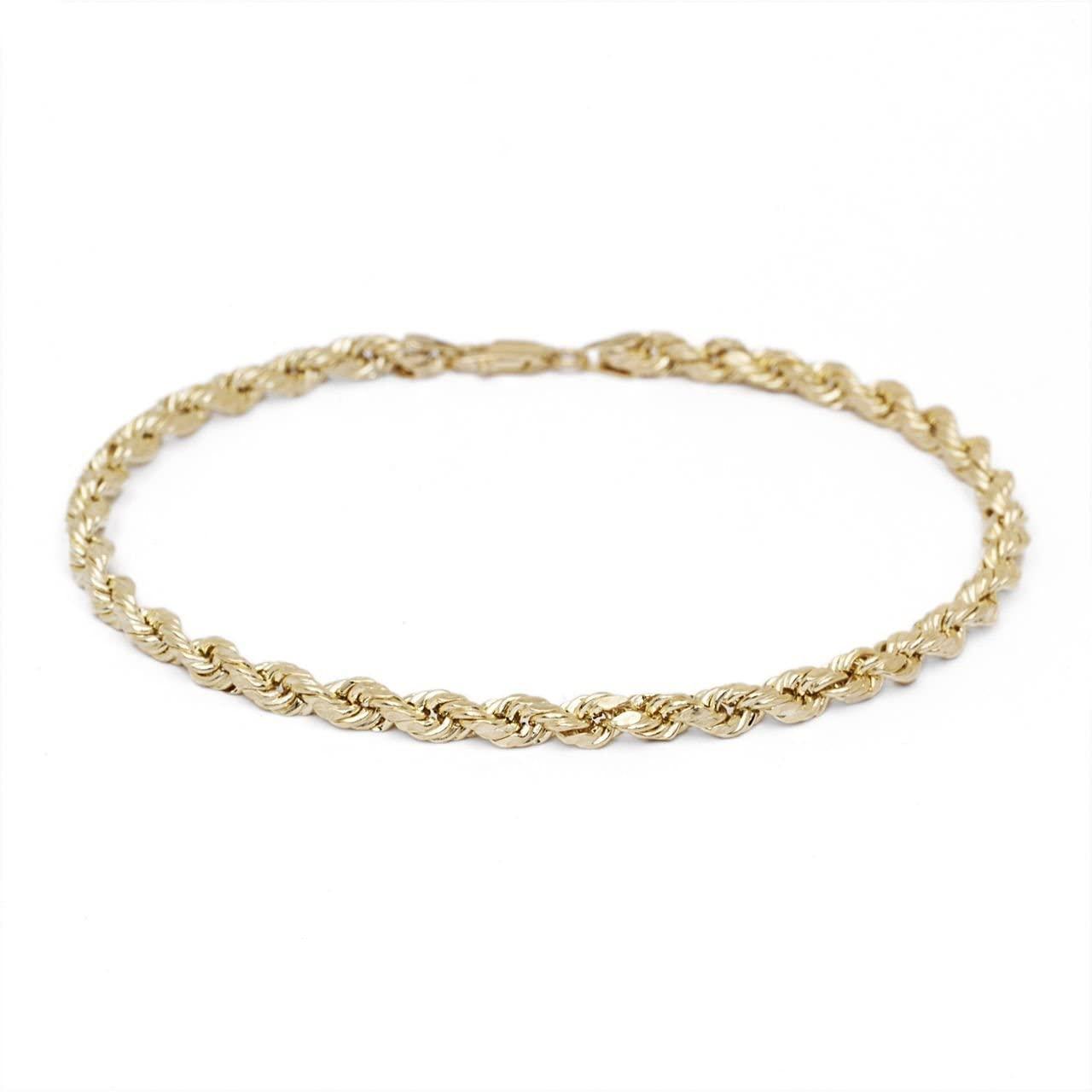 MCS Jewelry 10 Karat Solid Diamond Cut Rope Chain Bracelet Yellow Gold ( 1.8mm )