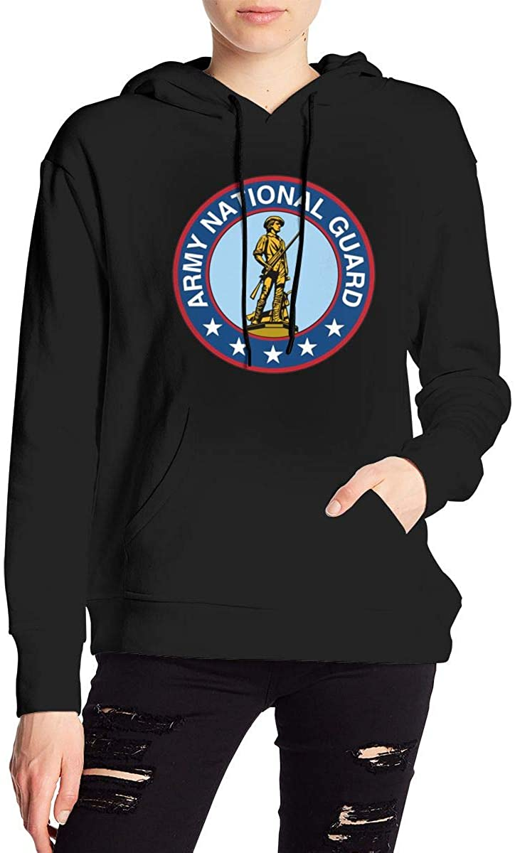 US Army National Guard Women's Long Sleeve Drawstring Pullover Hoodie Pocketed Sweatshirts