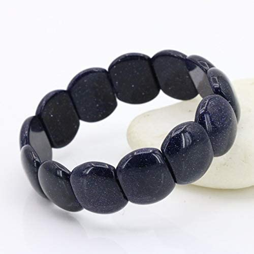 Ochoos Blue Sand Elastic Bracelet Multi Element Collocation Best Selling DIY Stone Women Fashion Jewelry Two Shapes can be Selected - (Metal Color: 14x17mm)