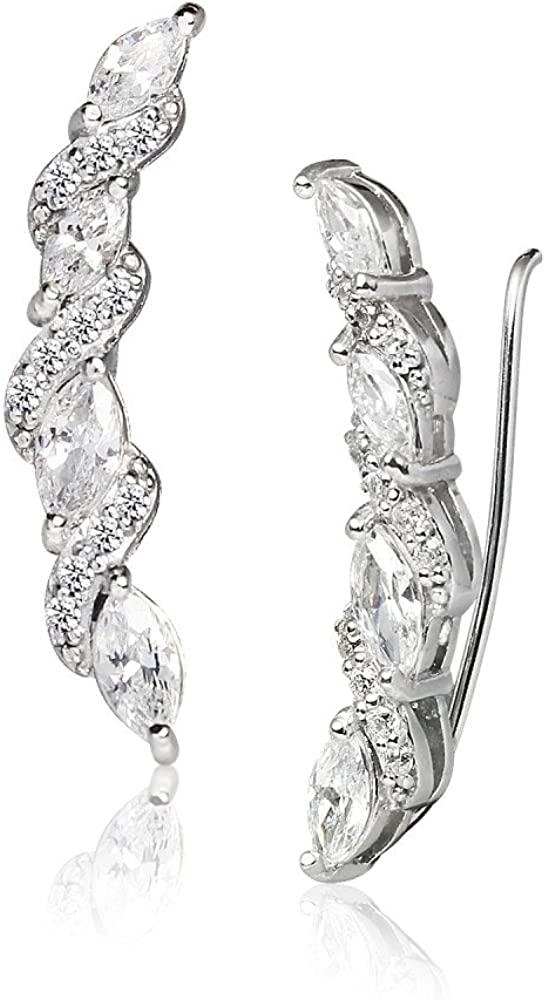LOVVE Sterling Silver Cubic Zirconia Classic Twist Ear Cuff Crawler Climber Hook Earrings, 3 Options