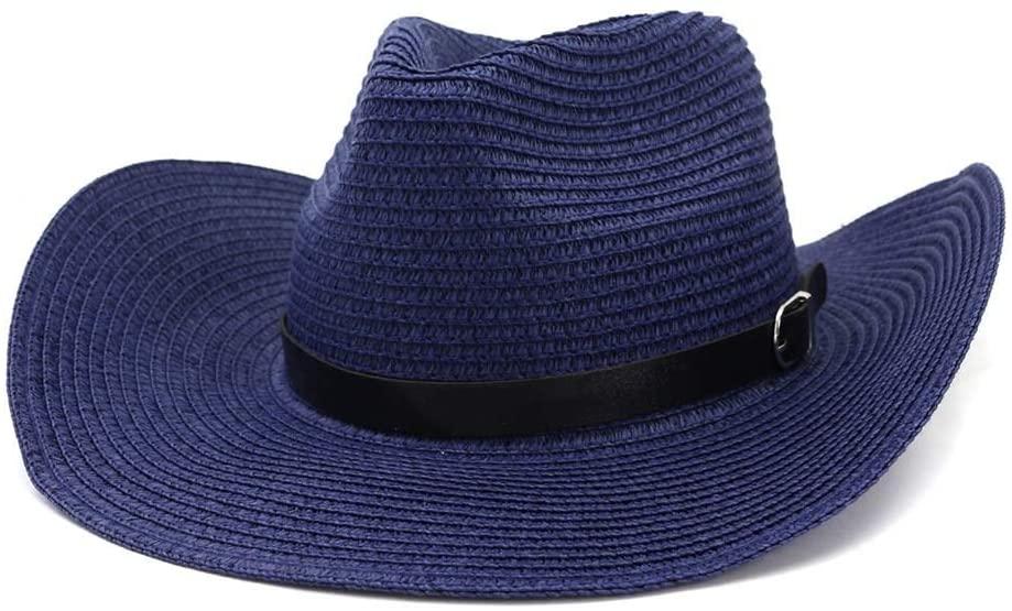 HONGkeke Summer Western Cowboy Hat Straw Sun Hat Male Outdoor Beach Hat Visor Women Sun Hat Cap Thin Belt Decoration Panama Hats Church Cap Fashion Elegant (Color : Navy Blue, Size : 56-58CM)