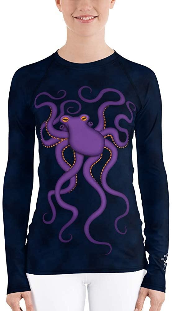 CAVIS Purple Octopus Women's Rash Guard, Underwater Dive Skin Swim Shirt