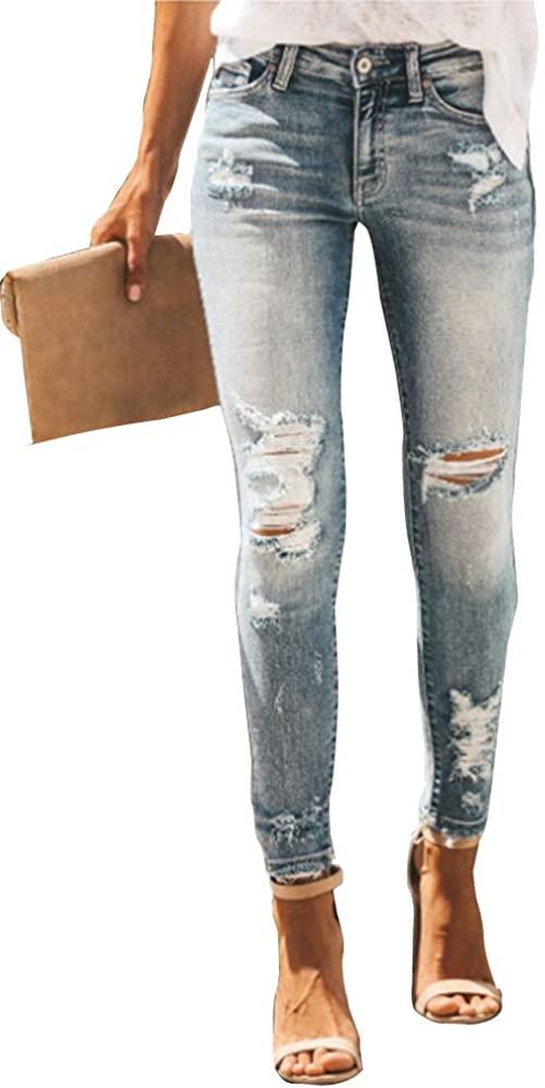 iRACHEU Women's Skinny Jeans Rise Ripped Slim Fit Denim Pants