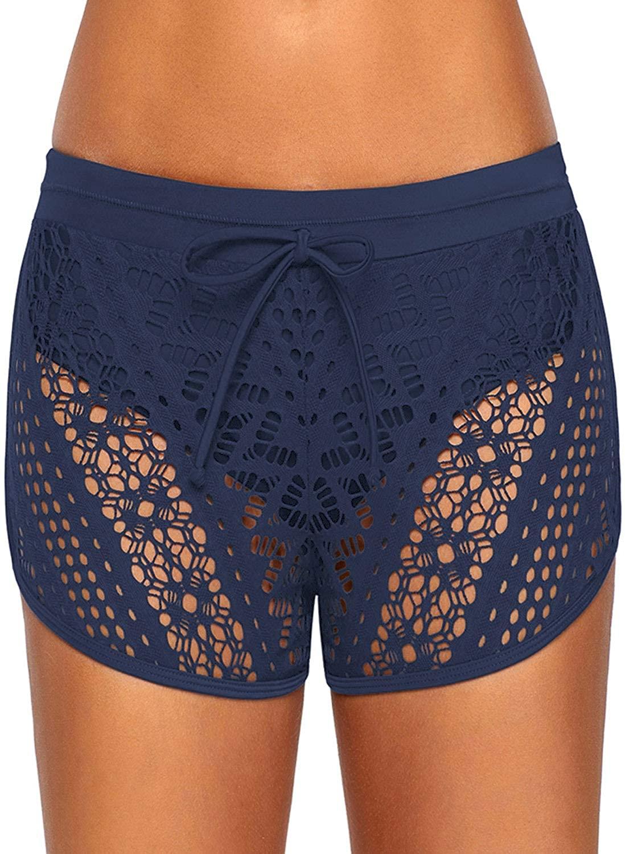 XAKALAKA Women High Waist Swim Bottom Waistband Laser Cut Swim Short with Panty S-2XL