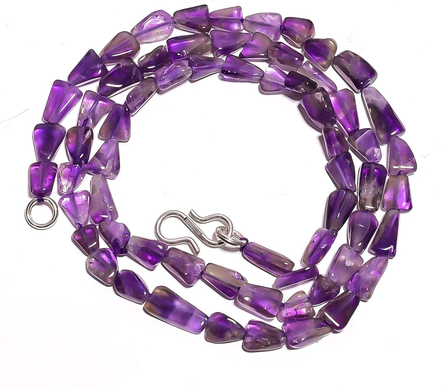 kanta incorporation Natural Amethyst Gemstone Flat Triangle Smooth Beads Necklace 18