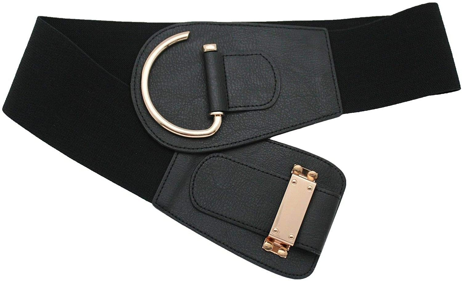 TFJ Women Fashion Elastic Wide Black Faux Leather Belt Hip Waist Metal Hook Buckle L XL