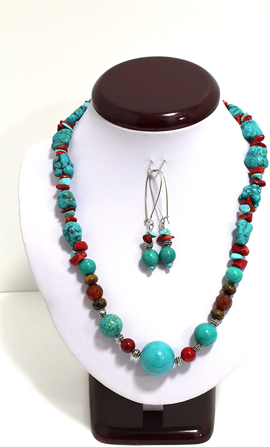 Genuine Multi-Color Turquoise Coral Tiger Carnelian and Amber Necklace 19 inches