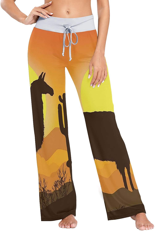 Women's Pajama Pants,Cactus Llama Sunset Drawstring Sleepwear Pants Lounge Yoga Pants Wide Leg Pants for All Seasons