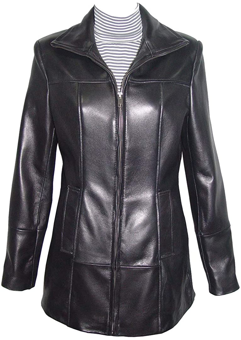 Paccilo 14P Size Best Cool Black Leather Jacket with Hoodie Women