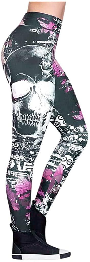 Mikey Store Women Fashion Skull Printed Skinny Slim High Waist Yoga Leggings Pants