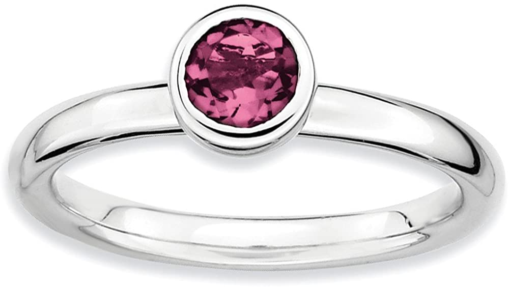 SS Stackable Expressions Low 5mm Round Pink Tourmaline Ring Size 5